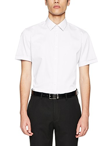 Seidensticker Herren Business Hemd X-Slim Fit – Bügelfreies, sehr schmales Hemd mit Kent-Kragen – Kurzarm – 100% Baumwolle, Weiß (Weiß 1), X-Large (Herstellergröße: 44)