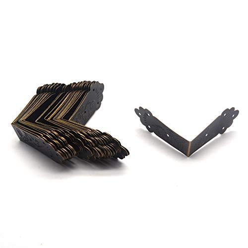 "Tulead 30PCS Bronze Iron Edge Guard Decorative Corner Brackets Decorative Furniture Corner Edge Brackets 2.2""x2.2""x1"" with Mounting Screws"
