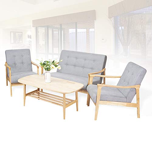 Living Room Lounge Set of 2 Tommy Chairs and Nicky Rectangular Coffee Table Modern Solid Wood Beech Color with Light Gray Cushion