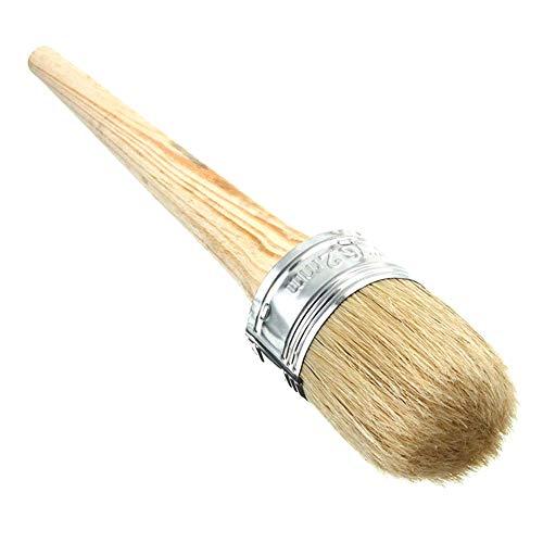Gobesty Cepillo de tiza de cerdas redondas, Pincel de cera de pintura de tiza, Pincel de tiza diámetro 30 mm cabeza redonda para muebles, decoración del hogar, depilación con cera, Cerámica vidriada