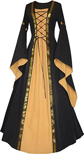 Dornbluth Damen Mittelalterkleid Anna Autumn Made in Germany (36/38, Schwarz-Safran)