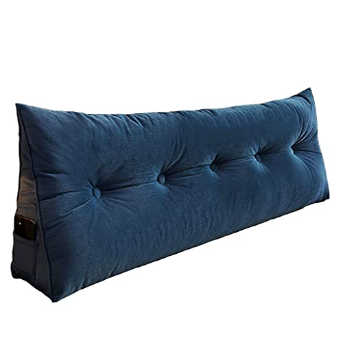 xinke Almohadas De Lectura para La Cama para Adultos Almohadas De Cuña para Camas Sofá Soporte Pillow Twin Tameles Soporte De Espalda(Size:45×22×50cm,Color:Azul Oscuro)