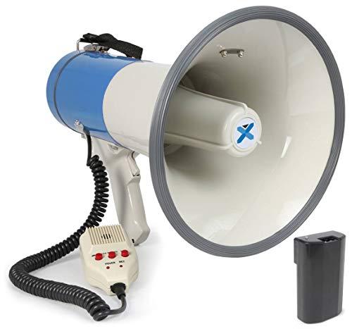 Vexus MEG065 Megáfono 65W USB MP3 SD AUX (función de grabación y reproducción voz, modo sirena, micrófono con cable en espiral y correa de transporte ajustable, incluye pilas litio y cargador)