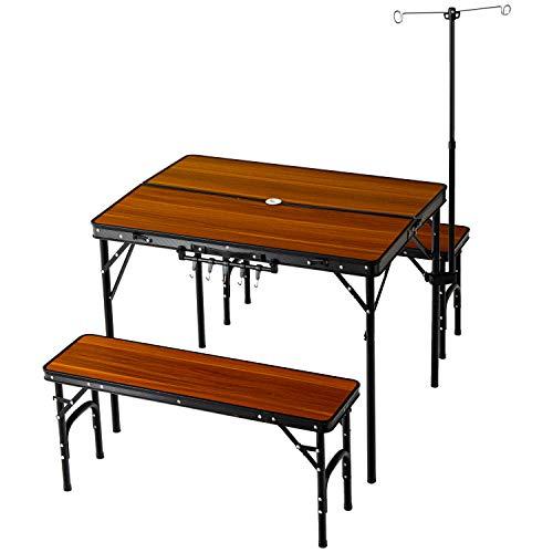 ENDLESS BASE アウトドアテーブル 5点セット ベンチ2脚 幅90cm 折りたたみ コンパクト 高さ調節 ランタンハンガー付き ブラウン 44400100 02 【74907】