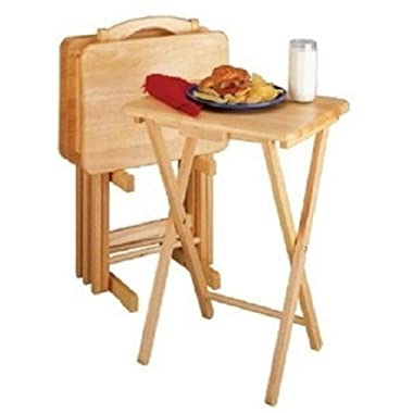 5 Piece TV Tray Snack Dinner Folding Table Set