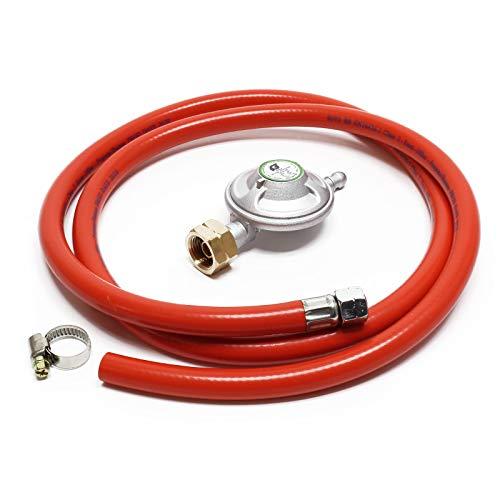 Wiltec Gasschlauch 1,5 m Plus Druckregler 28 mbar hält Gasdruck konstant Druckminderer für Italien