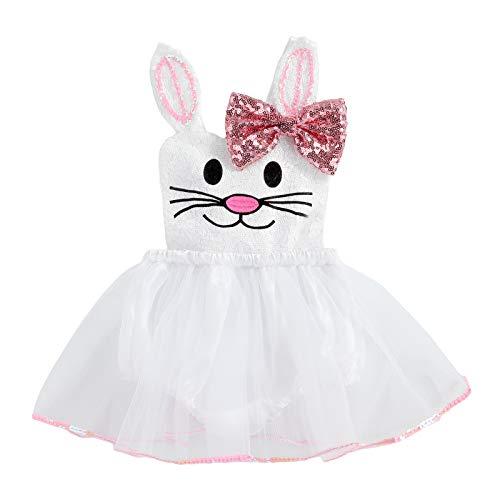 Infant Toddler Baby Girl Easter Outfits Sequin Rabbit Bunny Romper Tutu Dress Bow Halter Sleeveless Bodysuit Party Dresses (White, 6-12 Months)