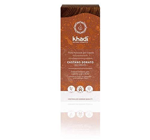 Khadi Coloration végétale 100% naturelle en poudre, châtain doré, 100g