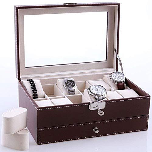 GFDFD Caja De Reloj Marrón Caja De Joyería De Cuero De Imitación Reloj Pantalla con Tapa De Cristal con Cerradura, Caja De Almacenamiento For Caja De Reloj For Hombres Y Mujeres