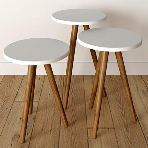 Vivense Misante 3-delige set salontafels - massief houten poten - wit - multifunctioneel: bijzettafel & eindtafel