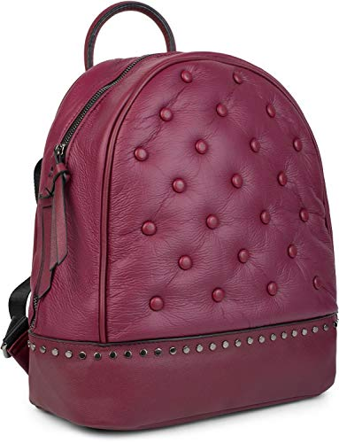 styleBREAKER Damen Rucksack Handtasche mit Nieten im Chesterfield-Stil, Reißverschluss, Tasche 02012266, Farbe:Bordeaux-Violett
