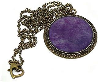 Collana viola resina viola viola ottone bronzo catena palla chiusura 32mm regalo personalizzato noel amico festa della mam...