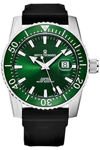 Revue Thommen 17030.2534 'Diver' Reloj automático suizo con correa de goma de esfera verde para hombre
