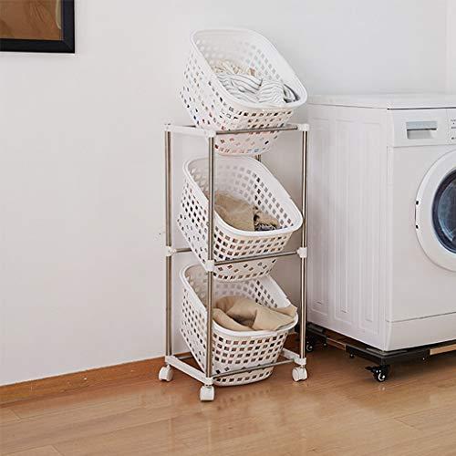 Cesta de almacenamiento Estante de Almacenamiento de baño, Ropa Sucia del hogar, contenedores de plástico con Ruedas (Tamaño : 3 Tier)