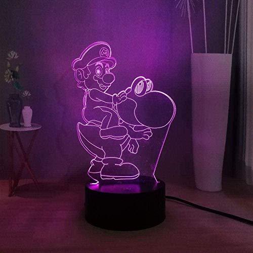 Kreative Geschenke Super Mario 3D Nachtlicht Illusionslampe Smart Touch Switch 7 Farben Ändern Kinder Deko Licht Stimmungslicht Nachttischlampe Geschenke Für Kinder (Smart Touch)