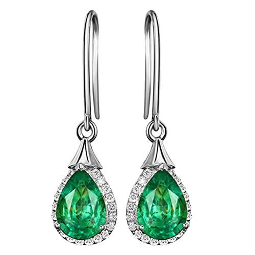 SALAN Pendientes De Gota De Turmalina Verde De Lujo Pendientes De Piedras Preciosas De Esmeralda De Plata De Ley 925 para Mujer Regalos De Joyería
