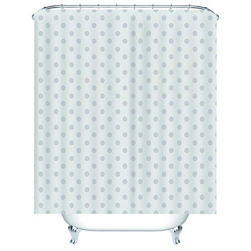 NZDSXQ Duschvorhang Cyan-Punktmuster 3D Shower Curtain Anti-Schimmel Wasserdichter Waschbar Anti-Bakteriell Badewanne Vorhang 180x200cm mit 12Duschvorhängeringen