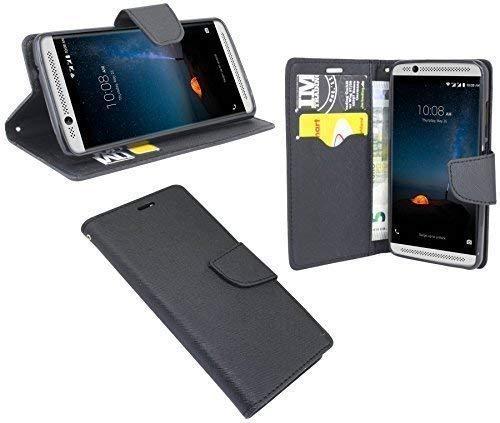 ENERGMiX Buchtasche kompatibel mit ZTE Axon 7 Mini Hülle Hülle Tasche Wallet BookStyle mit Standfunktion in Schwarz