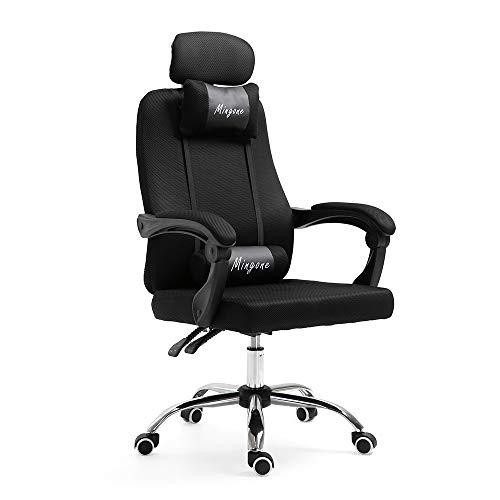 Mingone Bürostuhl Chefsessel Drehstuhl Computerstuhl Höhenverstellung Office Stuhl Polsterung wegklappbare Armlehne (Schwarz+ohne Pedalen)