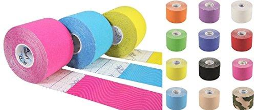 Tapefactory24 7 ORIGINAL Rollen KINESIOLOGIE Tape 5 cm x 5 m IN 12 FREIE Farbwahl - DAS ORIGINAL