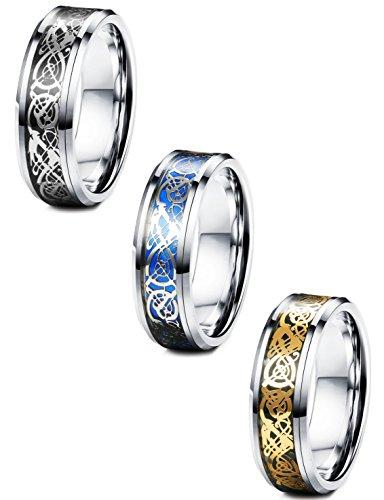 Fibo Steel - Anillos celtas de acero inoxidable de 8 mm para hombres y mujeres, anillos de boda de tamaño 7 a 14