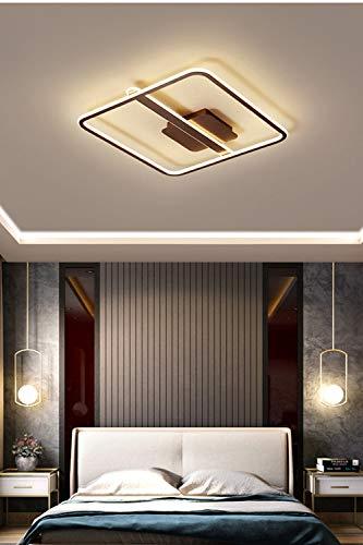 LF-MJ LED Lámpara De Salón Regulable Rectangular Mando A Distancia Moderna De Metal Acrílico Pantalla Comedor Cocina Dormitorio Decoración Plafón,Marrón,43cm
