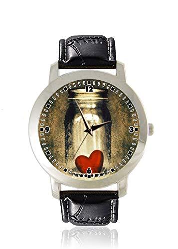 Damen-Armbanduhr mit Herz-Zitaten, dünn, dünn, minimalistisch, modisch, wasserdicht, analog, Lederarmband, Geschenk