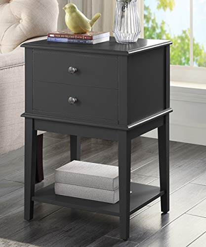 Linio-home Black Nightstand, Bedroom Nightstands with Drawers, Small End Table, Bed Side Table with 2 Drawers, Bedside Table Accent Table, Black