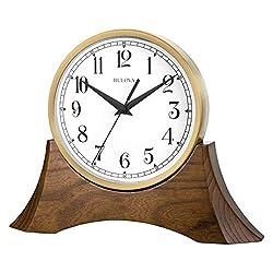 Bulova B5406 Mariner Tabletop Clock, Brown Cherry/Gold