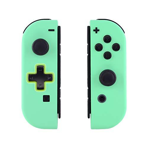 eXtremeRate Hülle für Nintendo Switch Joycon,Case Gehäuse Hülle Schale Soft-Touch Ersatzteile für Nintendo Switch Joycon Controller&kompletter Satz Taste(D-Pad-Version)-Mintgrün-Keine Console Hülle