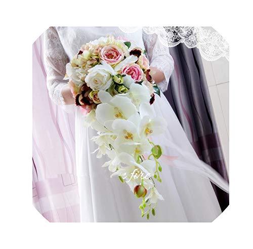 Rosa Lila Wasser-Tropfen Wasserfall Elegante Wedding Bouquet Artificial Carla Lily Braut Brautstrauß Braut Hochzeit Blumenstrauß, Rosa