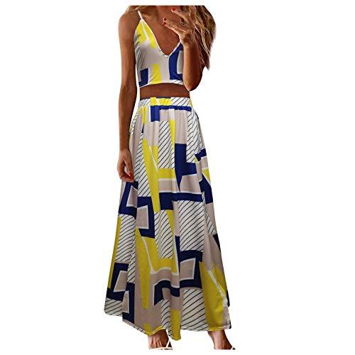 Vestido maxi para mujer, 2 piezas, moderno, cuello en V, parte superior,...