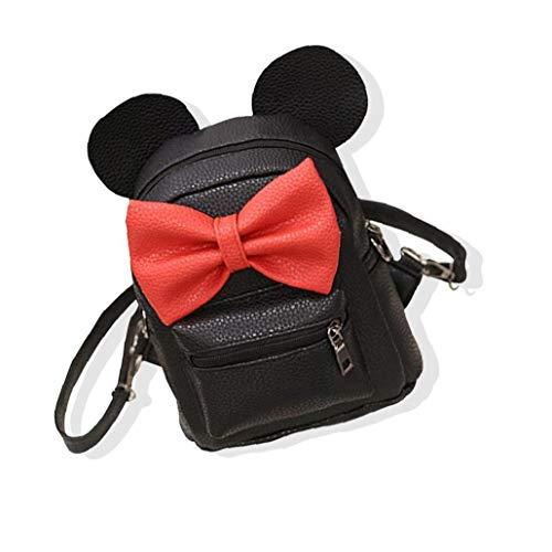 1PC Cartoon Backpack PU Leather Animal Ear Bowknot Mini Backpack Cute Shoulder School Bag Travel Satchel Casual Bag for Kids Girls Personal Items