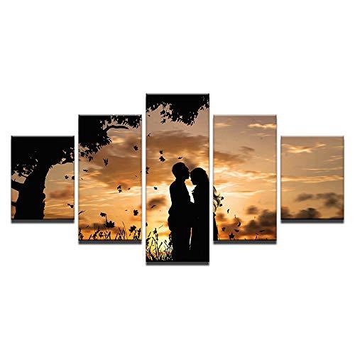Cuadro en Lienzo Pareja romantica 5 Piezas Impresiones sobre Lienzo Impresión Artística Imagen Gráfica Cuadros Modernos para Decoración del hogar - 150 x 80 cm, Sin Marco
