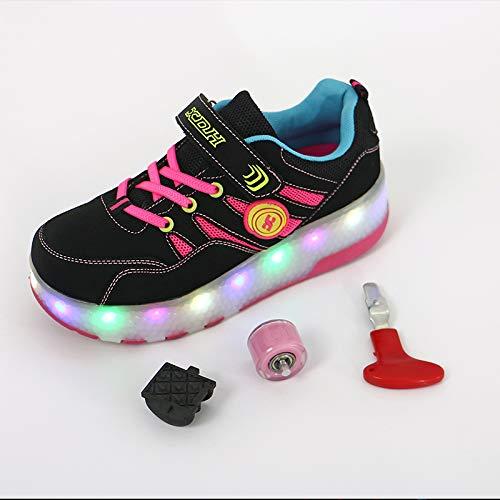 CVFDGETS Enfants LED Chaussures à Skates avec Roues LED Clignotante Baskets Mode Coloré Lumineux Patins à roulettes Multisports Outdoor Chaussures De Skateboard pour Garçon Fille,Pink-40