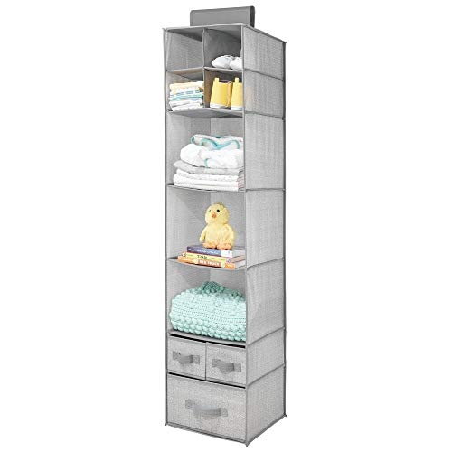 mDesign Soft Fabric Over Closet Rod Hanging Storage Organizer with 7 Shelves and 3 Removable Drawers for Child/Kids Room or Nursery - Herringbone Print - Gray