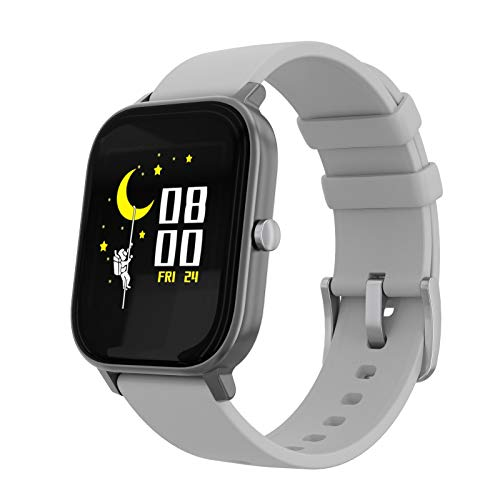 PowerLocus Smartwatch Activity Tracker, 1.4inch Full Touch Screen, Waterproof Smartwatch with Heart Rate Monitor, Pedometer, Bluetooth, Sports Activities, Sleep Tracker for iOS, Android etc. (Grey)