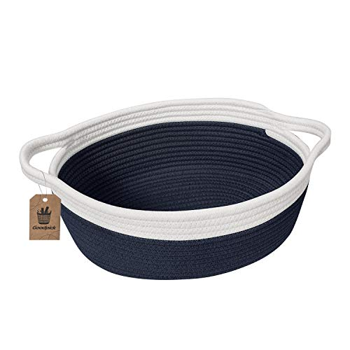 """Goodpick Small Woven Basket Cute Navy Blue Rope Basket Cotton Basket Woven Storage Basket Cat Toy Basket Nursery Basket with Handles for Bathroom Bedroom 12""""x 8"""" x 5"""" Oval Candy Color Design"""
