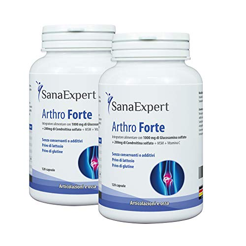 PACK 2 | SanaExpert Arthro Forte | SUPPORTO NATURALE PER ARTICOLAZIONI E OSSA | con MSM, glucosamina solfato, condroitina, senza additivi (240 capsule). Ingredienti 100% naturali.