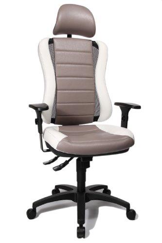 """Topstar HE30P S033X Head Point RS \""""P4\"""", Bürostuhl, Schreibtischstuhl, inkl. höhenverstellbare Armlehnen, Kopfstütze, Polsterung weiß/hellgrau"""