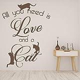 Etiqueta de la pared del gato del animal doméstico Todo lo que necesitas es amor y citas del gato letras etiqueta de la ventana del vinilo tienda de mascotas dormitorio decoración del hogar mural