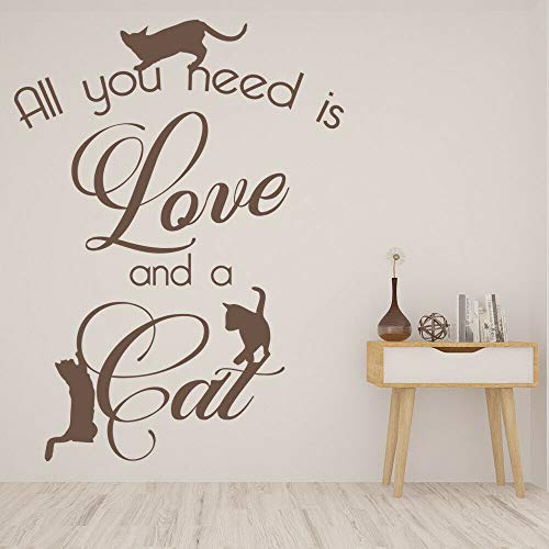 HGFDHG Pet cat wall decal All you need is love and cat quotes lettering vinyl window sticker pet shop bedroom home decoration mural