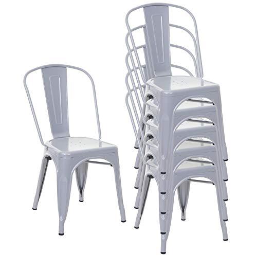 Mendler 6X Stuhl HWC-A73, Bistrostuhl Stapelstuhl, Metall Industriedesign stapelbar - grau