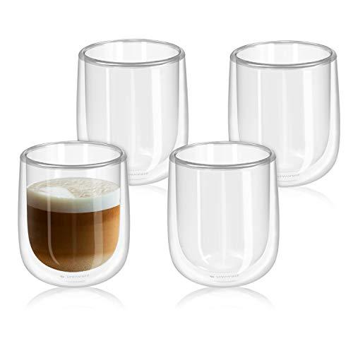 Navaris 4x doppelwandige Gläser 350ml - Thermogläser für Cappuccino Latte Macchiato Tee Wasser Cola Cocktails - 4er Set Kaffeegläser Borosilikat