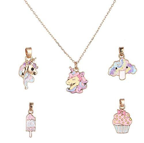 7Piezas Collar de unicornio,Unids Rainbow Elefante Clip De Pelo collar de pastel de helado con 5 colgantes intercambiables,para Fabricación Joyas Pulsera Collar