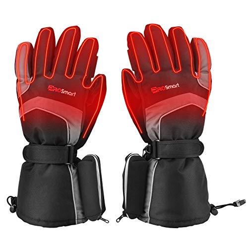 Beheizte Handschuhe Elektrische Beheizbare Handschuhe mit 3 Wärmestufen, Winter-Warmhandschuhe Heizung Motorradhandschuhe Beheizt Handwärmer mit 4800mAh 3,7V Typ-C Akku (Schwarz+Navy Blau, M)