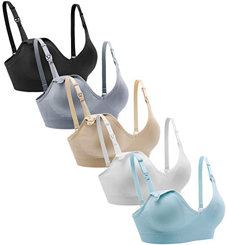 Suekaphin Nursing Bra 5pack Wireless Deep V Neck Maternity Nursing Bra Bralette Sleeping Breastfeeding with Extra Extenders,XXLarge,Black/Nude/White/Gray/Lightblue