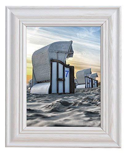 Mein Landhaus Vintage Bilder-Rahmen Stockholm im Shabby Chic Design Holz-Rahmen in Weiß mit Glas (30x45 cm)
