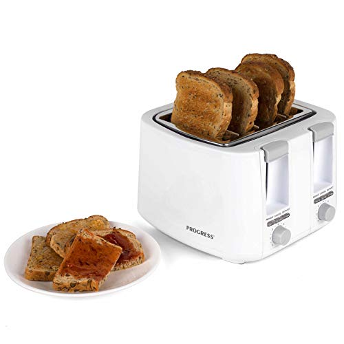 Progress EK3394P 4 Slice Toaster with 7 Levels of Variable Browning Control, 1500W, White