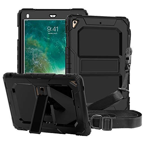 FAN SONG Funda para iPad Air 2, Funda Resistente Silicona con función de Soporte y Bandolera para Apple iPad 2018/2017/Pro 9,7 Pulgadas (Negro)